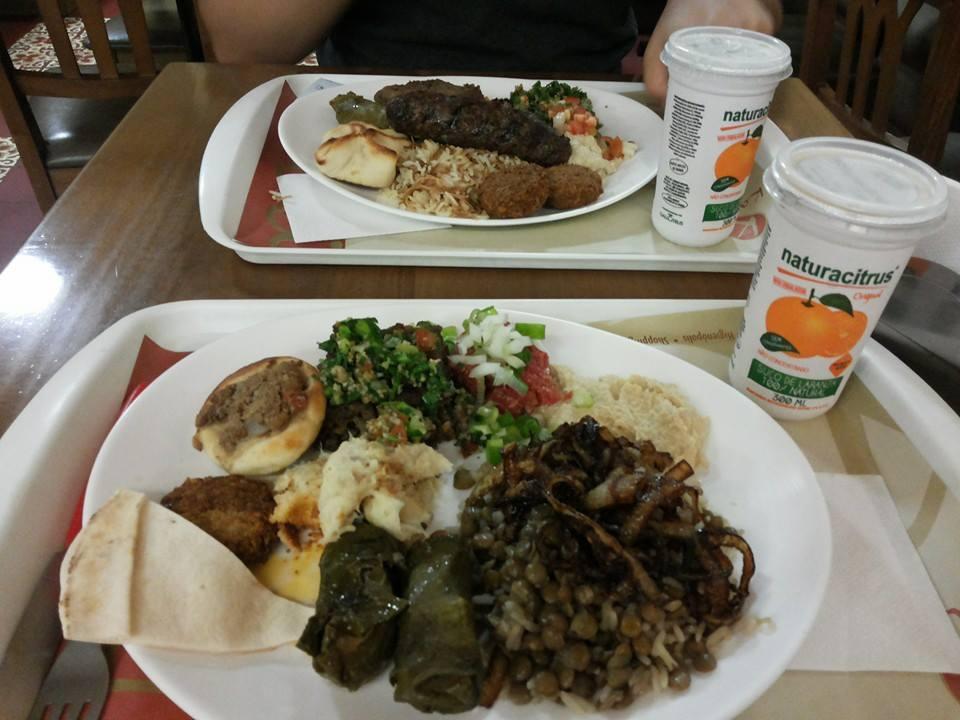 Pratinho montado com várias opções da comida árabe.